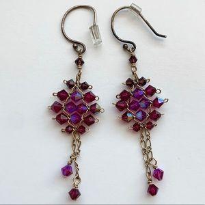✨ANTHROPOLOGIE Unique Purple Gold Dangle Earrings